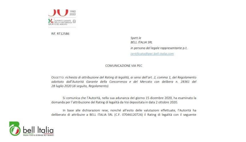 rating legalità bell italia